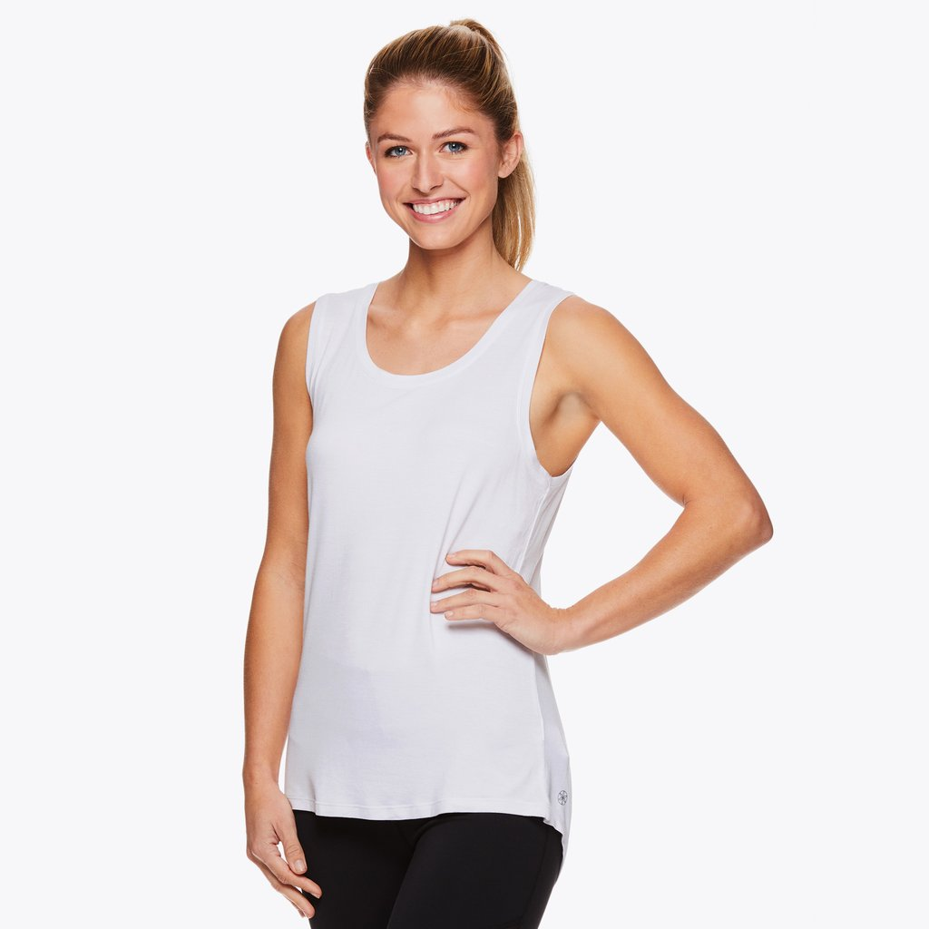 gaiam loop lace bright white running tank