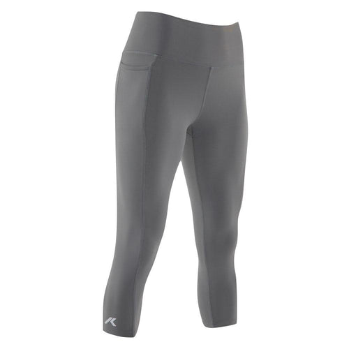 Kippo women's capris running performance leggings with smartphone pocket grey