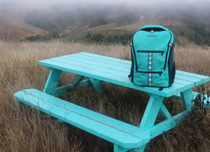 mudroom intermodal backpack on picnic table