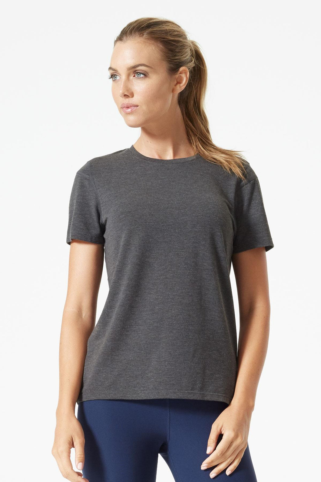 women's mpg smithie short sleeve running shirt in heather charcoal