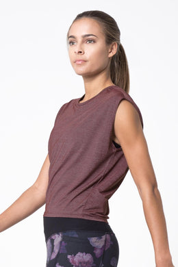 mpg swiftly women's sleeveless running shirt soft plum color
