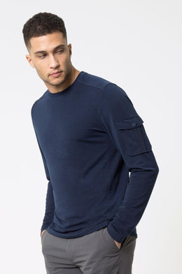 men's sanctuary long sleeve run top navy by mpg