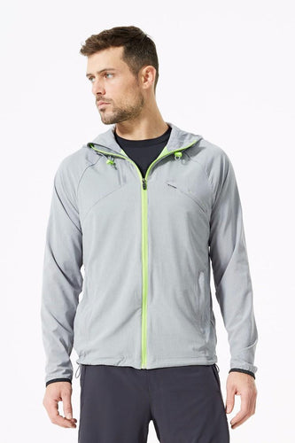 mpg grid running jacket men's gray