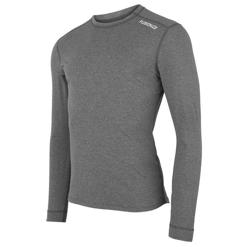 fusion men's running long sleeve sweatshirt gray front