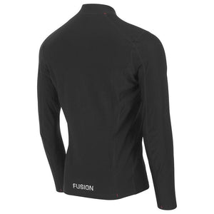 fusion men's hot zip performance running long sleeve shirt black back