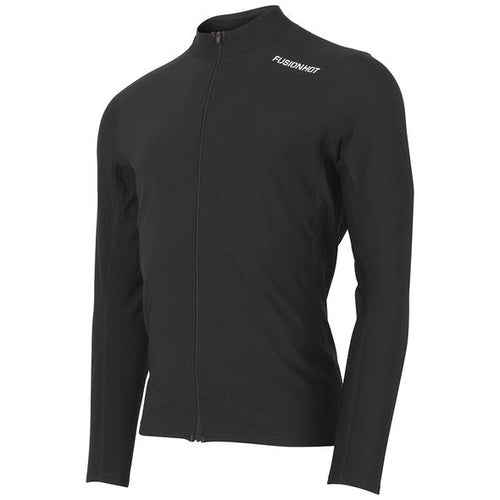 fusion men's hot zip performance running long sleeve shirt black