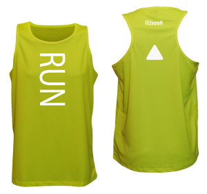 ruseen running mens running tank lime yellow