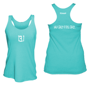 ruseen running women's 13.1 half crazy performance tank bright blue