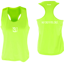 Load image into Gallery viewer, ruseen women's 13.1 half crazy performance tank lime yellow