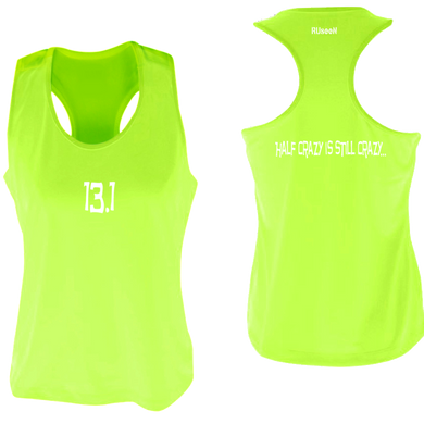 ruseen women's 13.1 half crazy performance tank lime yellow
