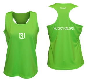 ruseen women's 13.1 half crazy performance tank neon green
