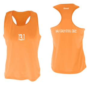 ruseen women's 13.1 half crazy performance tank orange