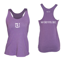 Load image into Gallery viewer, ruseen running women's 13.1 half crazy performance tank purple