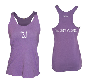 ruseen running women's 13.1 half crazy performance tank purple