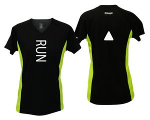 ruseen running Women's performance reflective tee Run black & lime