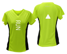 Load image into Gallery viewer, ruseen running Women's performance reflective tee Run lime with black sides
