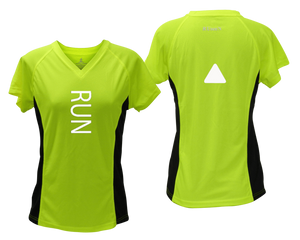 ruseen running Women's performance reflective tee Run lime with black sides
