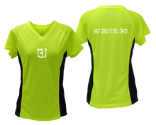 Load image into Gallery viewer, ruseen Women's 13.1 Half Crazy Reflective Performance Tee lime with black sides