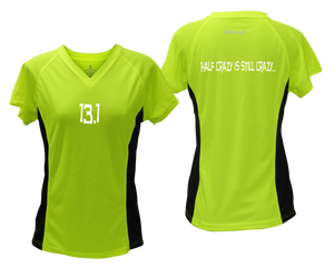 ruseen Women's 13.1 Half Crazy Reflective Performance Tee lime with black sides