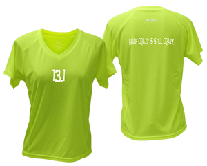 ruseen Women's 13.1 Half Crazy Reflective Performance Tee lime yellow
