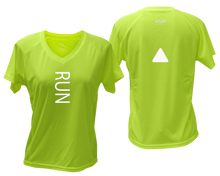 Load image into Gallery viewer, ruseen running Women's performance reflective tee Run lime yellow