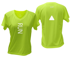 ruseen running Women's performance reflective tee Run lime yellow