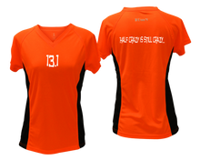 Load image into Gallery viewer, ruseen Women's 13.1 Half Crazy Reflective Performance Tee orange with black sides