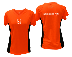 ruseen Women's 13.1 Half Crazy Reflective Performance Tee orange with black sides