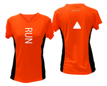 Load image into Gallery viewer, ruseen running Women's performance reflective tee Run orange with black sides