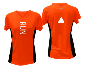 ruseen running Women's performance reflective tee Run orange with black sides