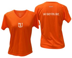 ruseen Women's 13.1 Half Crazy Reflective Performance Tee orange