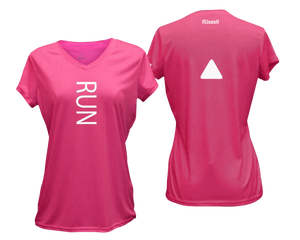 ruseen running Women's performance reflective tee Run pink