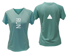 Load image into Gallery viewer, ruseen running Women's performance reflective tee Run sea green