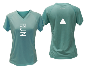 ruseen running Women's performance reflective tee Run sea green