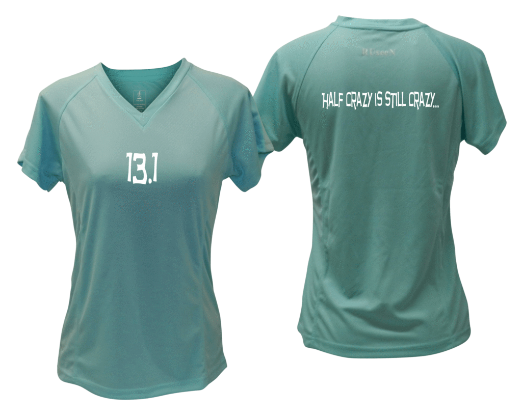 ruseen Women's 13.1 Half Crazy Reflective Performance Tee Sea Green