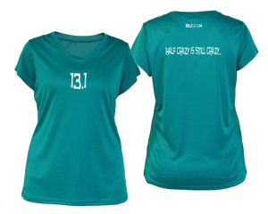 ruseen Women's 13.1 Half Crazy Reflective Performance Tee teal