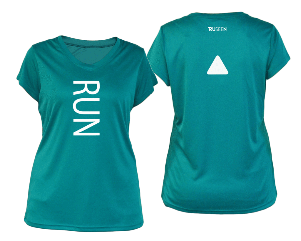 ruseen running Women's performance reflective tee Run teal