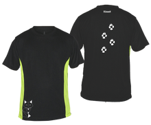 Load image into Gallery viewer, ruseen mens reflective running tee fox black and lime