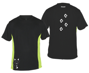 ruseen mens reflective running tee fox black and lime