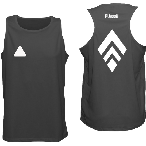 ruseen running broken diamond men's reflective active tank black