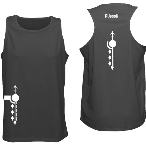 ruseen running mens reflective running singlet black