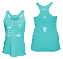 Load image into Gallery viewer, ruseen running arrows women's performance tank blue