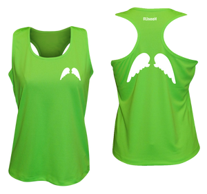 ruseen running Womens wings reflective performance tee neon green