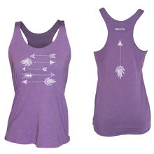 Load image into Gallery viewer, ruseen running arrows women's performance tank purple