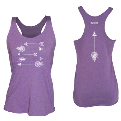 ruseen running arrows women's performance tank purple