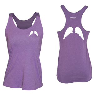 ruseen running Womens wings reflective performance tee purple