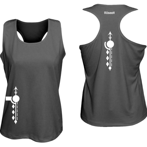 ruseen running women's reflective tank paths black