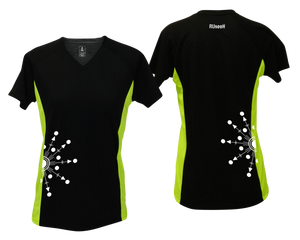 ruseen running Women's reflective performance tee Directions black & lime