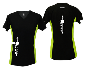 ruseen running Women's Paths performance reflective tee black & lime