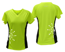 Load image into Gallery viewer, ruseen running Women's reflective performance tee Directions lime with black sides